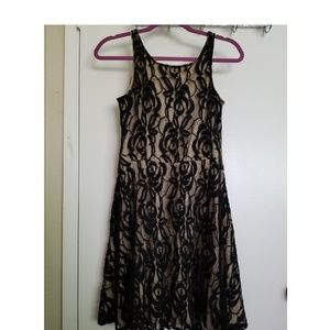 Lace black and tan dress